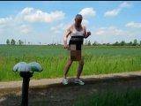 Amateurvideo Fahrradfahren im Frivolen Outfit ** Badeanzug ** from nylonjunge